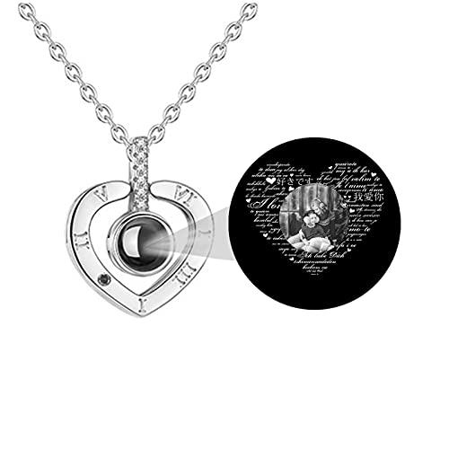 Collar de foto personalizado 100 idiomas diferentes TE QUIERO Collar personalizado Collar de proyección Colgante de corazón(Plata Blanco y negro 24)