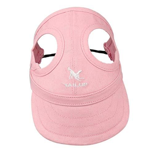 SM SunniMix Hund Baseballmütze Hundecap Hundemütze Sonnenschutz Kappe Hut mit Ohrlöchern für Hunde im Sommer - Rosa, M