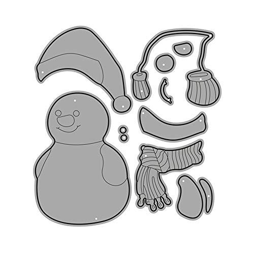 wjieyou Metall-Stanzschablone mit Schneemann-Motiv, zum Basteln von Papierkarten, Schablonen für Scrapbooking