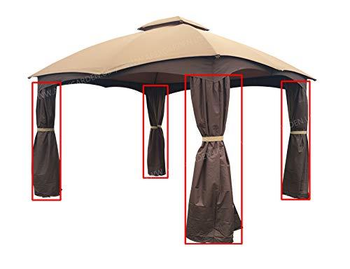 APEX GARDEN 4 Poles Brown Corner Curtain Set for Lowe's 10' x 12' Gazebo Model #GF-12S004BTO / GF-12S004B-1 (Corner Curtains Only) (Brown)