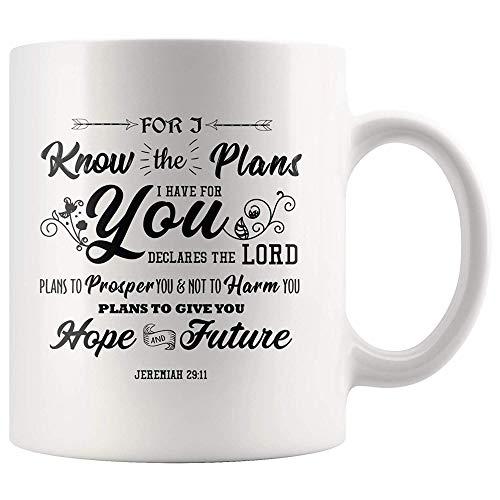 Ol322ay Jeremiah 2911 Ich kenne die Pläne, die ich für Sie Habe Becher 11 Unzen Christian Kaffeebecher Bibel Vers Schrift Becher Christian Retirement Gifts Cup