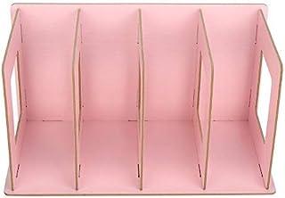 Atyhao Trä 4 sektioner skrivbord bokställ, böcker CD-DVD-stativ förvaringshylla tidskriftshållare bokstöd kontor bärhyllor...