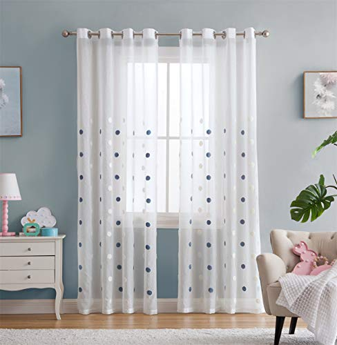 Vandesun White Sheer Curtain with Embroidery Blue and White Dots for Bedroom Living Room Kids Room - 2 Panels (Dot Sheer, 52 × 84)