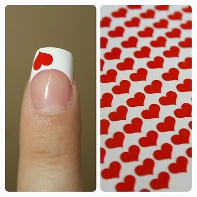Price comparison product image Heart Shaped Fingernail Art Decal Stickers Nail Vinyls Set of 100