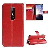 LODROC [Nokia 6.1 Plus] Hülle, TPU Lederhülle Magnetische Schutzhülle [Kartenfach] [Standfunktion], Stoßfeste Tasche Kompatibel für Nokia 6.1 Plus - LOBYU0300980 Rot