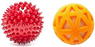 RvPaws Rubber Chew Dog Toy Combo Spiked Ball + Hard Squeak Ball in Ball (Color May Vary)