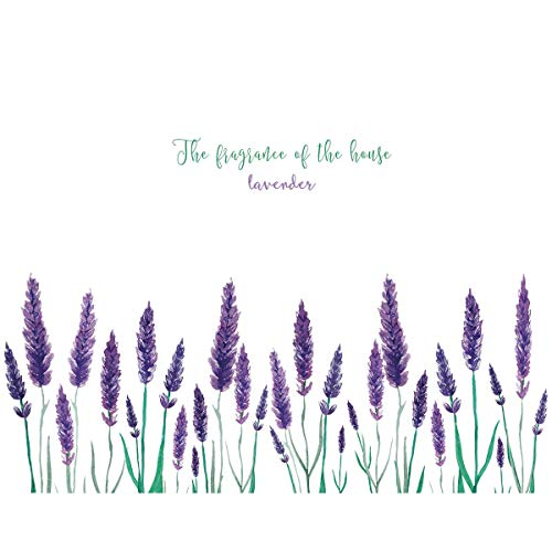 FANGLIAN Purple Lavender Flower Wall Decals Plant Flower Wall Sticker Flowers Wall Art Decor Beautiful Lovely Lavender Wall Decor for Living Room Bedroom Corridor Nursery Decorations(50X70cm)