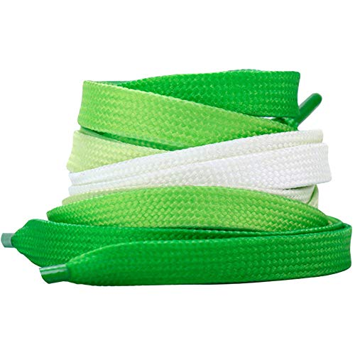 47' Colorful Printed Shoelaces Wide Flat Shoe Laces for Sneakers Casual Shoes Fashion Accessories Green Size: 47'