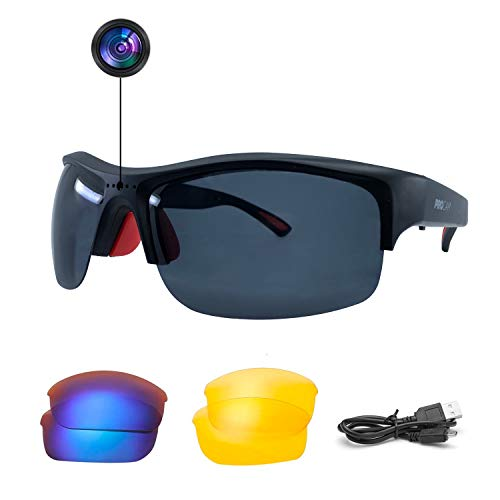 PROCam Video Photo Recording Sport Sunglasses, 1080P Full HD Video Interchangeable Polarized Lenses USB Rechargeable Battery Personal Worn cam