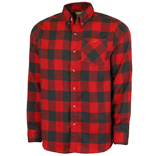 Mossy Oak Flannel Shirt for Men, Buffalo Plaid Long Sleeve Mens Flannel Shirts, Soft Flannels for Men, a Traditional Look with New Age Comfort, Red Buffalo, XX-Large