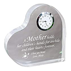 GiftsForYouNow Personalized Mother's Day Keepsake Clock, Heart Shaped Display Clock, Clock with Mom Inspirational Quote, Acrylic Tabletop Clock, 5 x 5, 0.75 Thick