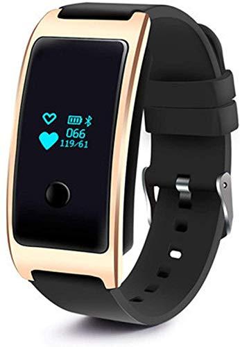 JIAJBG Smart Watch Llamada Mensaje de Llamada Recordatorio Reloj Despertador Monitor de Ritmo Cardíaco Pedómetro Pulsado Impermeable, Diseño Impermeable Fácil de Usar-Negro Negro Desgaste diario