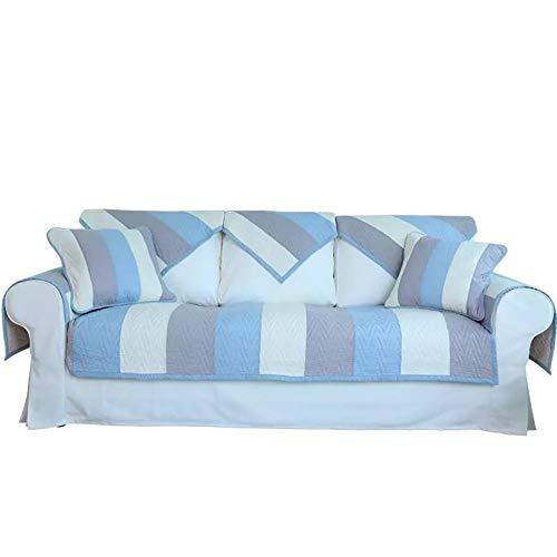 kinfuki Funda Cubre Sofá Chaise Longue,Bloque de Cojines de sofá de algodón para Enviar 2 Fundas de Almohada Azul, 90 * 160