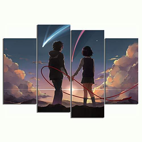 YGKDM canvas wooncultuur muurkunst 4 panelen anime paar foto's uw naam cartoon movie piece poster modulaire fotolijsten 20x40cmx2 20x60cmx2 Geen frame.