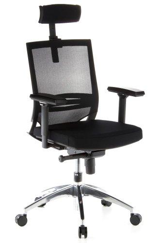 hjh OFFICE 657240 Profi Bürostuhl PORTO MAX Stoff/Netz Schwarz Bürosessel ergonomisch, Kopf- & Lordosenstütze verstellbar
