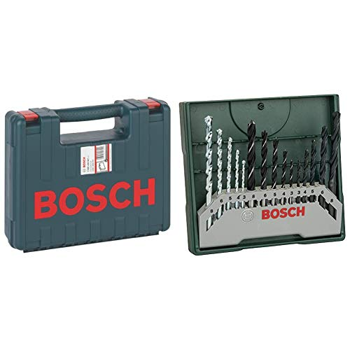 Bosch Professional 2 605 438 607Maletín de transporte, 350 x 294 x 105 mm, pack de 1 + Mini X-LineSet de 15 brocas mixto, para tareas de perforación en mampostería, madera y metal