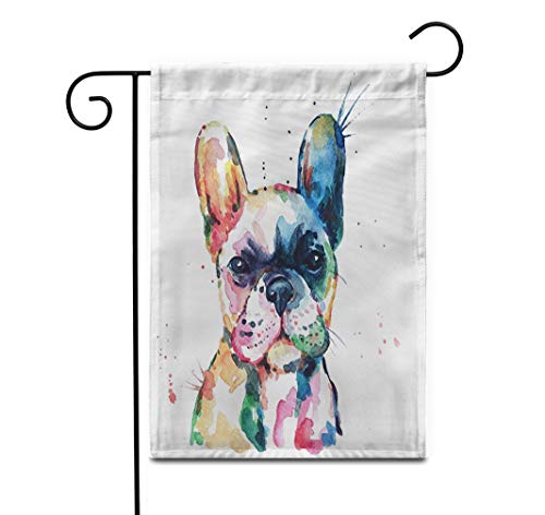 Awowee 12'x18' Garden Flag Frenchie French Bulldog Original Watercolor of Dog Rainbow Funny Outdoor Home Decor Double Sided Yard Flags Banner for Patio Lawn