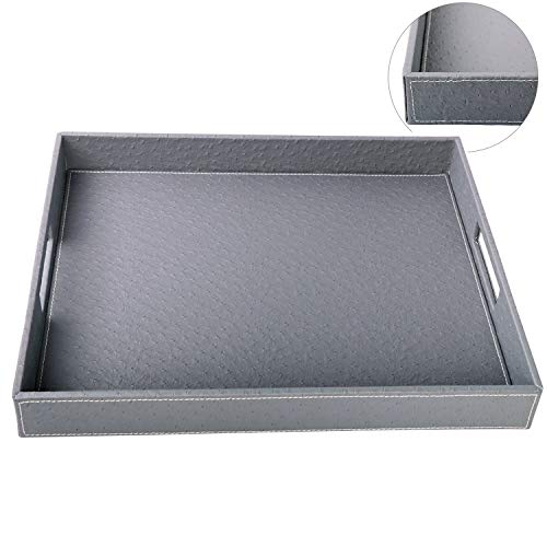 HofferRuffer Ostrich Faux Leather Rectangular Decorative Serving Tray with Handles for Coffee Table Breakfast Tea Food Butler Grey Ostrich PU Leather 177 x 138 x 2 inches