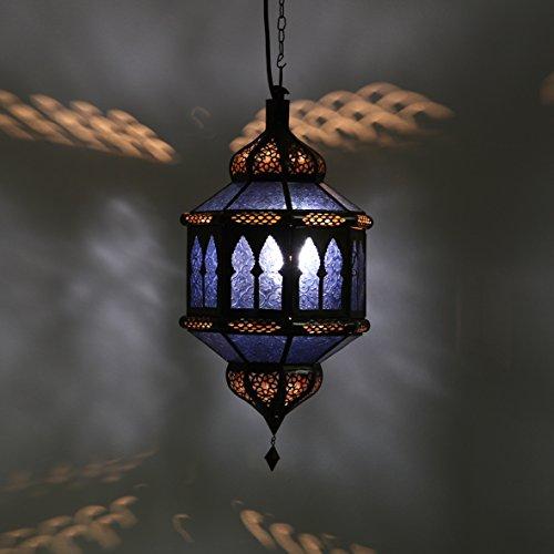 Orientalische Hängelampe Marokkanische Lampe Trombia Biban Blau H 50 cm aus Metall & Glas | Echtes Kunsthandwerk aus Marokko | Prachtvolle Deckenlampe wie aus 1001 Nacht | L1232