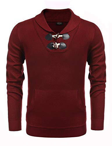 COOFANDY Men's Knitted Slim Fit Shawl Collar Sweater Long Sleeve Pullover Wine Red