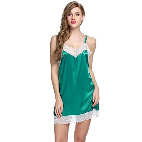 adqw Corsés para Mujer Lencería Sexy Ropa De Dormir Camisón De Talla Grande Mujeres Camisón De Raso Festoneado Transparente Slip De Seda Ropa Interior Sexy Camisas - Green_XS