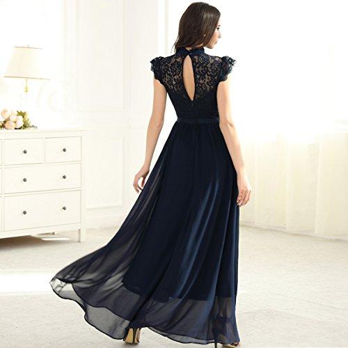 Miusol Damen Elegant Spitzen Abendkleid Brautjungfer Cocktailkleid Chiffon Faltenrock Langes Kleid Dunkelblau Gr.XL - 5