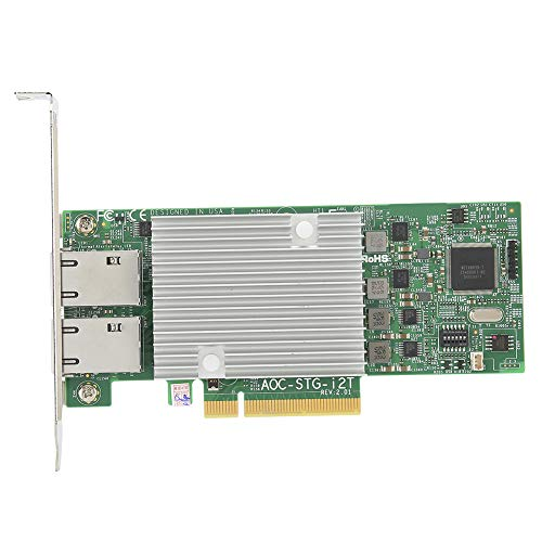 awstroe 10Gbe Network Card for Supermicro AOC X540‑AT2 AOC‑STG‑I2T 2.0 RJ45 2‑Port Adapter for Win10/Linux/Synergy/Esxi/Soft Routing