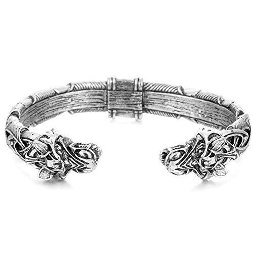 SVHK Gran Pulsera artesanal de Fenrir, anillo de brazo de metal nórdico, con cabezas de lobo doble, pulsera antigua joyería pagana, hecha a mano Viking Wolf Head Pulsera Brazalete de Joyería de moda R
