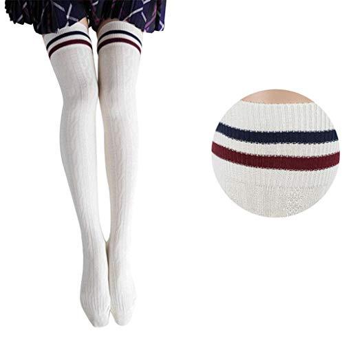 Long Socks,Haoricu Girls Fahion Style Thigh High Socks Stockings Over Knee Long Socks For Womens (White)