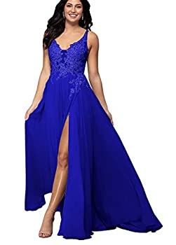 Yilis Women s V-Neck Beaded Prom Dress A-line Lace Applique Slit Chiffon Formal Evening Party Gown Royal Blue US16