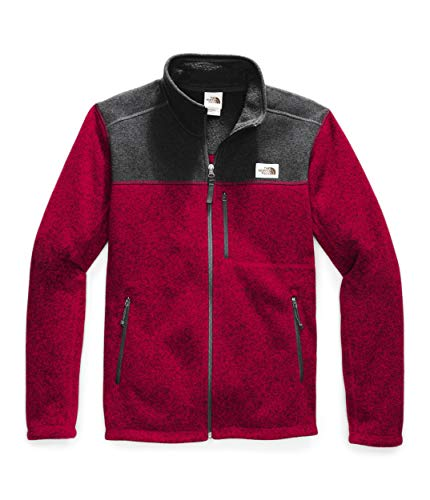 The North Face Men's Gordon Lyons Full Zip Fleece Jacket, Cardinal Red Heather/TNF Dark Grey Heather, Large