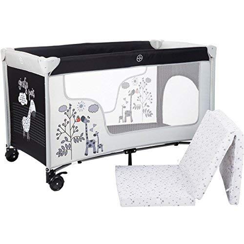 SET: Reisebett/Babybett (120 x 60cm mit Schlupfloch) + Schaumstoff-Matratze aus 100% BAUMWOLLE + Transporttasche Baby Kind Bett 0-5 Jahre