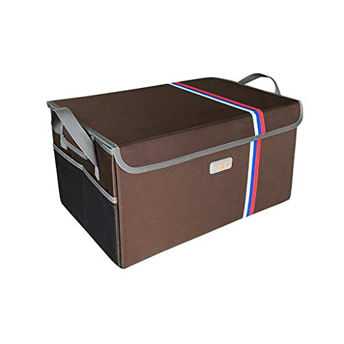 Car Trunk Storage Box Organizer Car Multi-Function Collapsible Trunk Organizer Cargo Bag for SUV Vans Cars Trucks Color  Brown