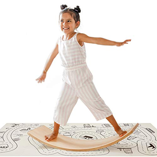 Wooden Wobble Balance Board with Play Mat Waldorf Toys Balance Board Kid Yoga Board Wooden Rocker Board 35 Inch Kid Size