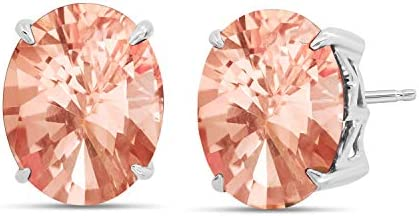 Nicole Miller Fine Jewelry Sterling Silver with 10x8mm Oval Cut Simulated Morganite Stud Earrings product image