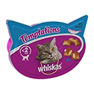 Whiskas Temptations - Tasty, Crunchy Cat Treats, Small Bite Size Snacks with a Delicious Salmon Fill...