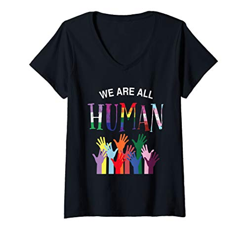 Womens We are all human for pride transgender, gay and pansexual V-Neck T-Shirt