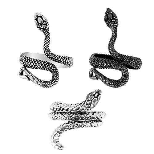 Huayue 3Pcs Anillo Punk Gótico Anillo Serpiente Mujer, Anillo Abierto Serpiente Ajustable, Anillo de Dedo Serpiente Anillo Vintage Anillo Chulo para Mujeres Hombres (3 Tipos, plateado y negro)