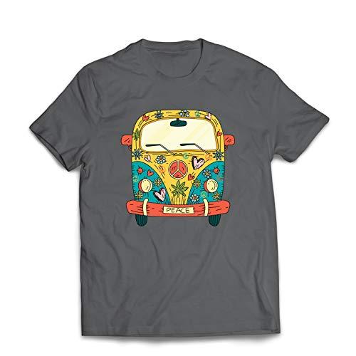 lepni.me Camisetas Hombre Años 60 70 Hippie Van, Flores, Amor, símbolo de Paz Libertad (XXX-Large Grafito Multicolor)
