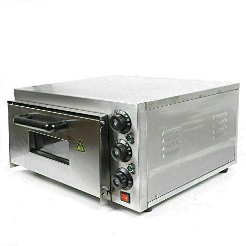 Fetcoi Horno de pizza comercial de acero inoxidable de 2000 W, para pizza de 50° - 300°, para uso comercial y privado