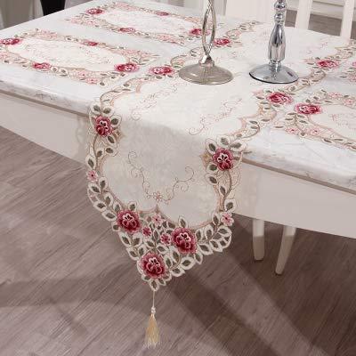 Chemin De Table Nappe de table brodée nappe table basse tissu de table en tissu de table tissu de table rectangulaire tissu petite couverture de chaussure fraîche serviette, rouge printemps, 70 * 120cm