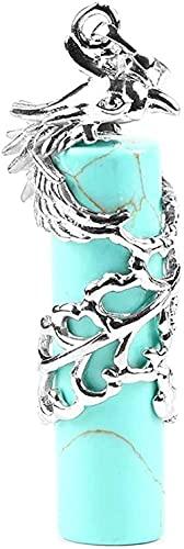 Collar de mujer Collar de hombre Collar con colgante colgante en piedras naturales Cilíndrico natural Turquesa Piedra Nacimiento Phoeny Silver Winding Happy Auspicious Fashion Reiki Power Stone