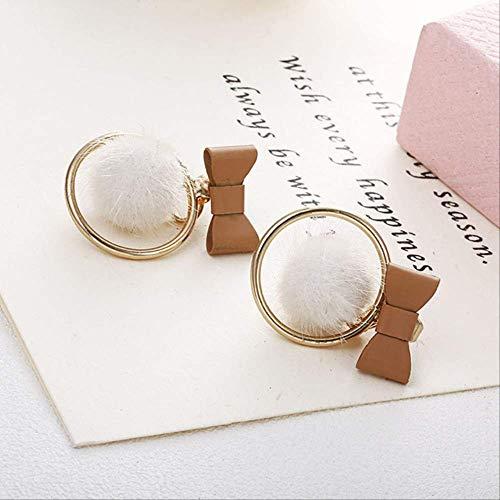 Womens oorbel sets hoepels strik bal oorbellenvlinderdas nageloorringmooie multicolor bal oorbel sieraden vrouwen cadeaue0397wihte