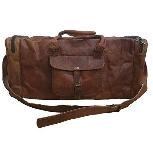 Jahrgang Reise Reisetasche Duffel Gepäck Tasche Reisetasche Original Ziege Braun Leder Weekender Über Nacht Urlaub Tragen