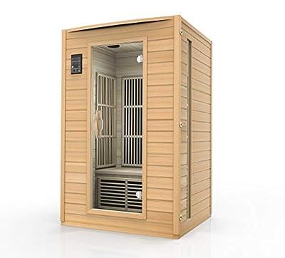 Durasage 2-Person Carbon Infrared Sauna - Canadian Hemlock Wooden Sauna - 1700 Watts - Bluetooth, FM Radio & Aux Input