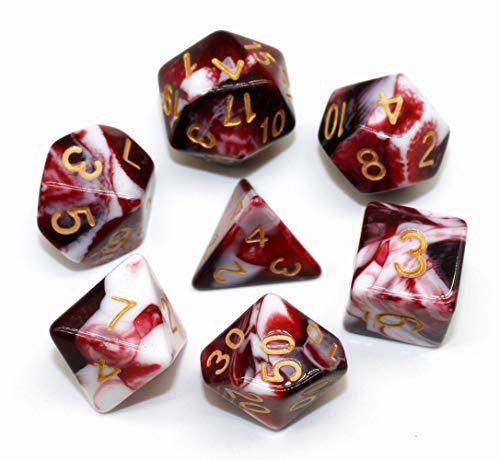 HD DICE DND RPG Juego de dados para mazmorras y dragones D&D Pathfinder Juegos de rol Rojo y Blanco Mármol Polyhedral Dice