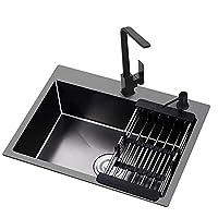 キッチンシンクビルトインカウンター下洗面器シンクステンレス鋼素材、蛇口の組み合わせ大容量と耐久性のある家庭用シンクブラック
