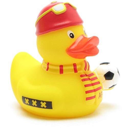 Duckshop I Badeente Fußball-Fan rot-gelb I Quietscheente I L: 8 cm