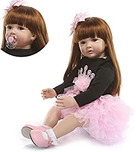 Size:24inch(60cm); Weight:about 1.5KG(3.3LB). The doll is handmade,will be some error in the size and weight. Head,arms and legs: Soft Simulation Silicone vinyl; Body:Cloth filled with cotton,very soft. Eyes: High quality Taiwan Acrylic eyes,can not ...