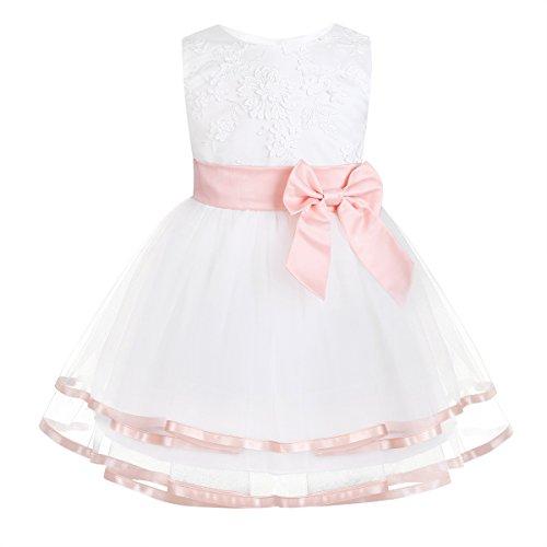 iixpin Babybekleidung Baby-Mädchen Prinzessin Kleid Festzug Taufkleid Hochzeit Partykleid Mädchen Tüll Kleidung Blumenmädchenkleid mit Baumwollhose Perle Rosa 68-74
